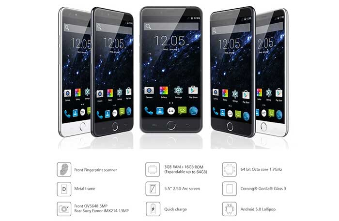 Elephone P7000: 8 core, 3 GB RAM, 16 GB ROM, 5.5″, Android 5 a 182€