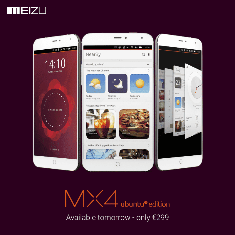 From tomorrow Meizu MX4 Ubuntu Edition will be available in Europe