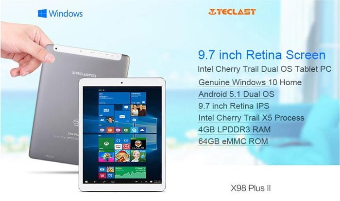 Teclast X98 Plus II: dual boot Android Win10 and 4GB RAM to 132 €