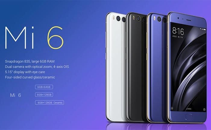 Super Xiaomi offers: Mi6 128GB at 456 € with 2 years warranty in Europe