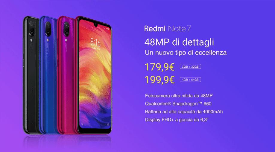 Redmi Note 7 in Italia a partire da 179,90€ il 21 Marzo