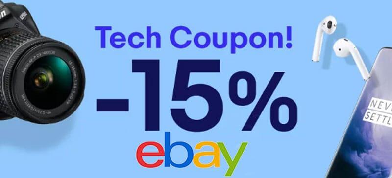 Nuova promo eBay: 15% di sconto fino a 100€ tanti prodotti tech!